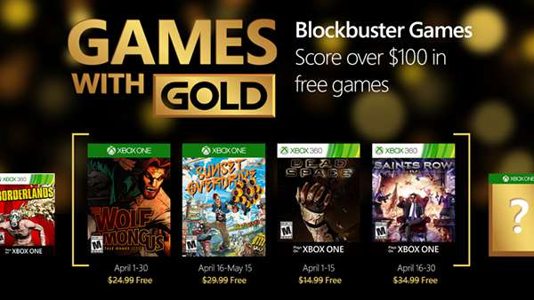 April 2016 Games with Gold for Xbox One and Xbox 360