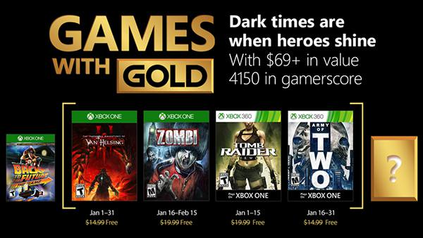 Xbox Live Games With Gold For January 2018 - Van Helsing, Zombi, Tomb Raider, Army of Two