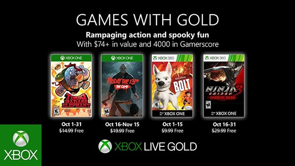 October 2019 - Xbox Games WIth Gold