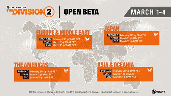 Tom Clancy's The Division 2 Open Beta Dates & Times