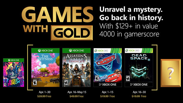 Free Xbox Games With Gold For April 2018 - The Witness, Assassin's Creed Sydicate, Cars 2, Dead Space 2