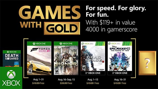 August 2018's Free Xbox Games With Gold Now Available
