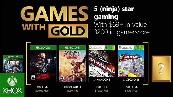 Xbox Games With Gold for February 2018 Revealed