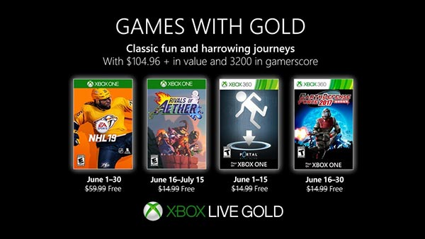 Xbox Games With Gold June 2019: NHL 19, Rivals of Aether, Portal: Still Alive & Earth Defense Force 2017