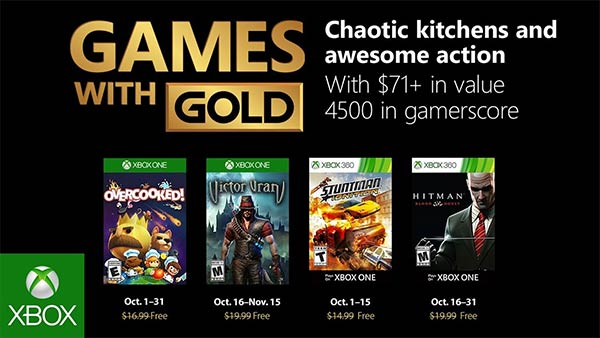 Free Xbox One Games With Gold For October