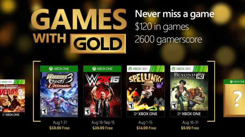 Xbox Live Games With Gold For August 2016