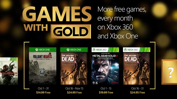 Xbox Live Games With Gold October 2015