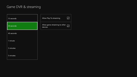 Xbox One - Customizable Game DVR recording length