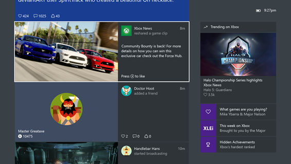 Video playback directly in the Xbox One Activity Feed