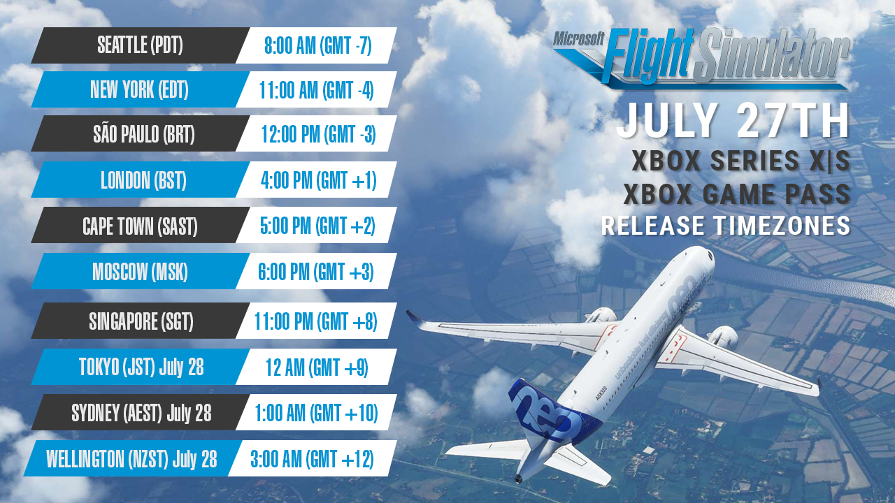 Microsoft Flight Simulator launches July 27th at 8 am PDT on Xbox Series X|S & Xbox Game Pass