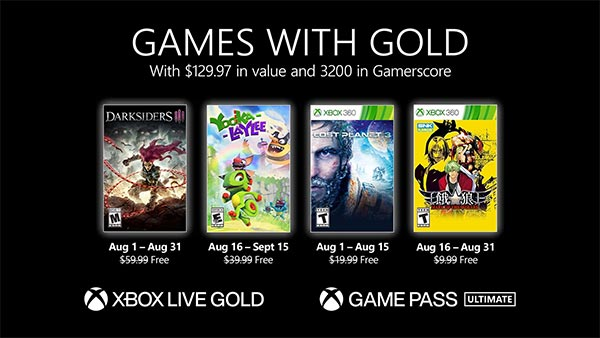 Xbox Games with Gold for August 2021: Darksiders III, Yooka-Laylee, Lost Planet 3 & Garou: Mark of the Wolves