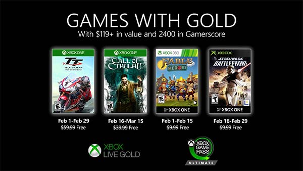 Xbox Games With Gold February 2020