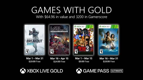 Xbox Games With Gold For March 2021