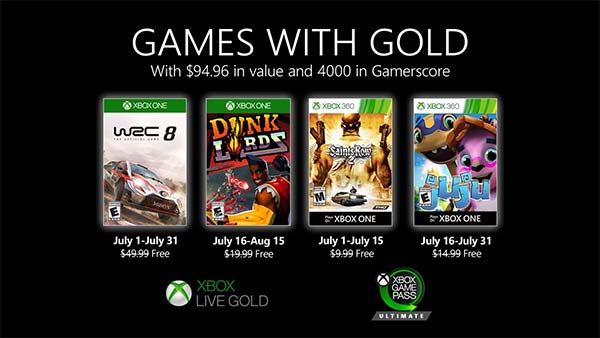 Xbox Games With Gold July 2020