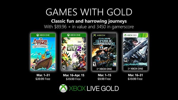 March 2019 Xbox Games With Gold