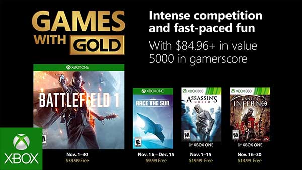 Xbox Free Games With Gold for November Revealed