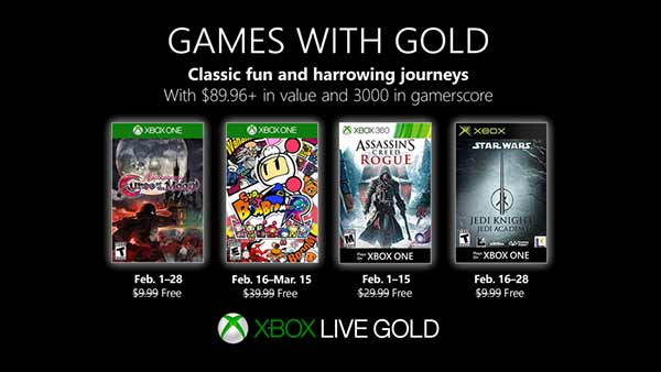 February 2019's Xbox Games With Gold - Bloodstained, Super Bomberman R, Assassin's Creed Rogue, Star Wars Jedi Academy
