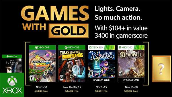 Xbox Live Games With Gold for November 2017