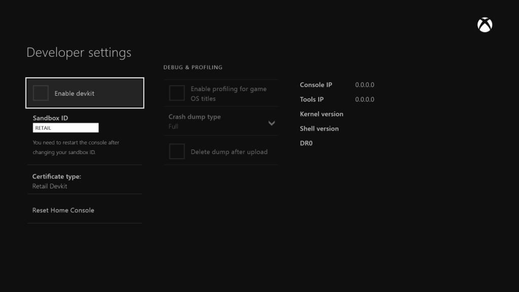 Xbox One Debug Mode